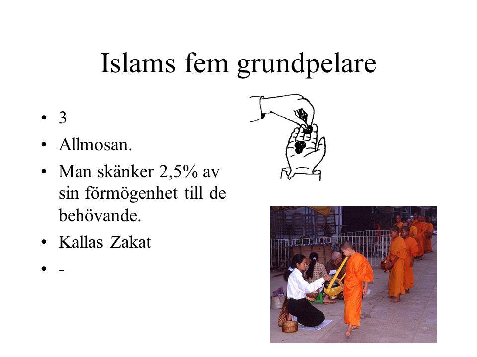 Islams fem grundpelare 3 Allmosan. Man skänker 2,5% av sin förmögenhet till de behövande. Kallas Zakat -