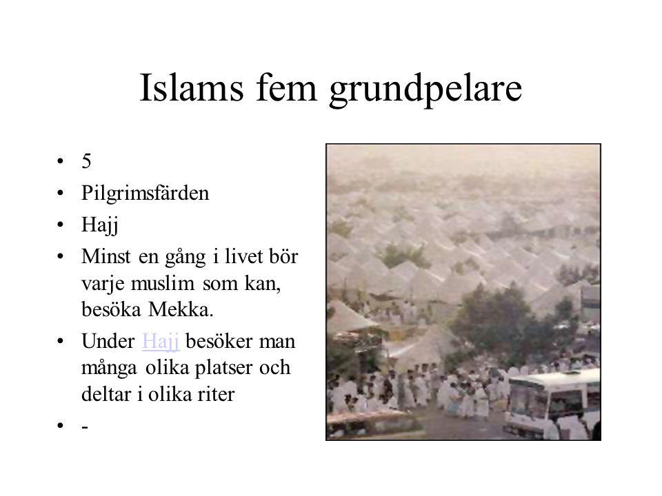 Islams fem grundpelare 5 Pilgrimsfärden Hajj Minst en gång i livet bör varje muslim som kan, besöka Mekka. Under Hajj besöker man många olika platser