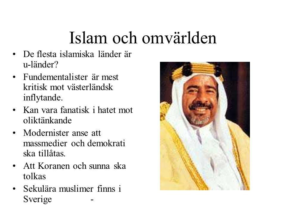 Islam och omvärlden De flesta islamiska länder är u-länder? Fundementalister är mest kritisk mot västerländsk inflytande. Kan vara fanatisk i hatet mo
