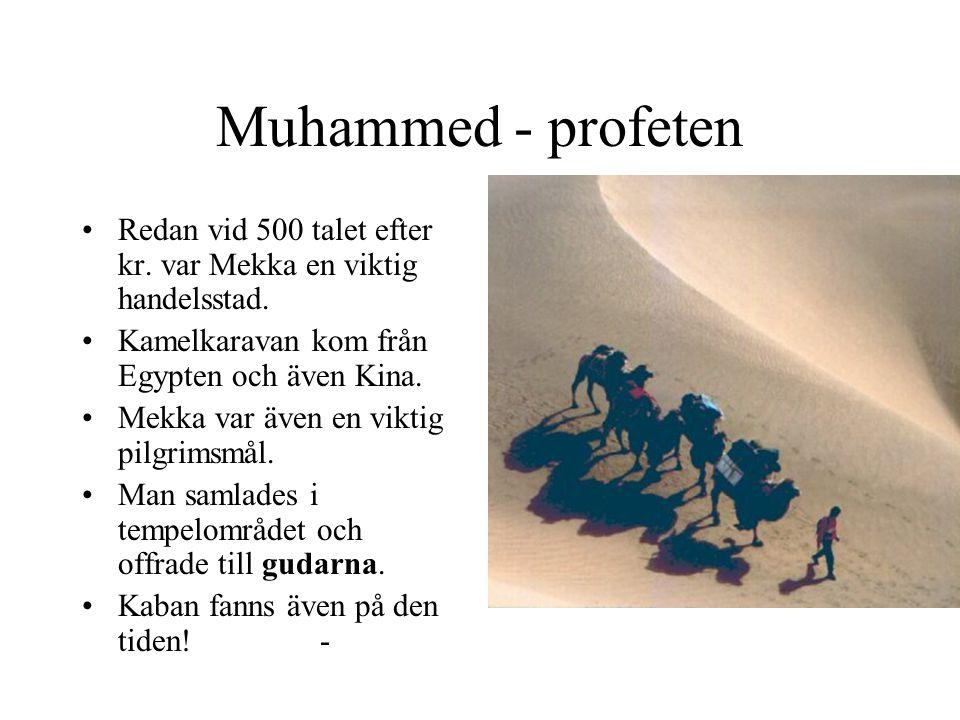 Muhammed - profeten Redan vid 500 talet efter kr. var Mekka en viktig handelsstad. Kamelkaravan kom från Egypten och även Kina. Mekka var även en vikt