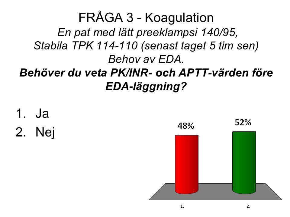 FRÅGA 3 - Koagulation En pat med lätt preeklampsi 140/95, Stabila TPK 114-110 (senast taget 5 tim sen) Behov av EDA. Behöver du veta PK/INR- och APTT-
