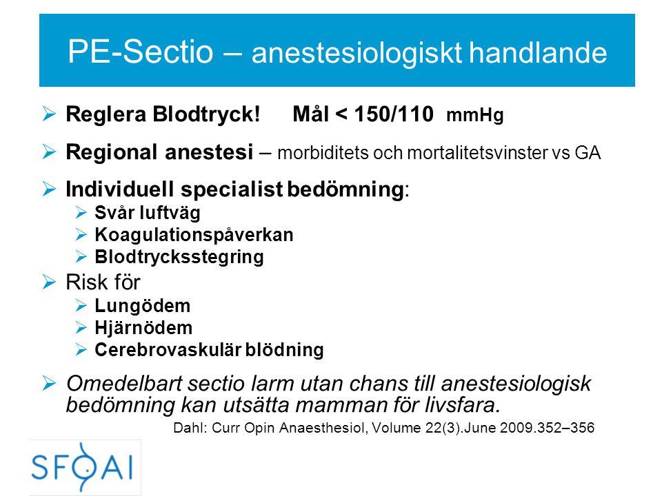 PE-Sectio – anestesiologiskt handlande  Reglera Blodtryck! Mål < 150/110 mmHg  Regional anestesi – morbiditets och mortalitetsvinster vs GA  Indivi