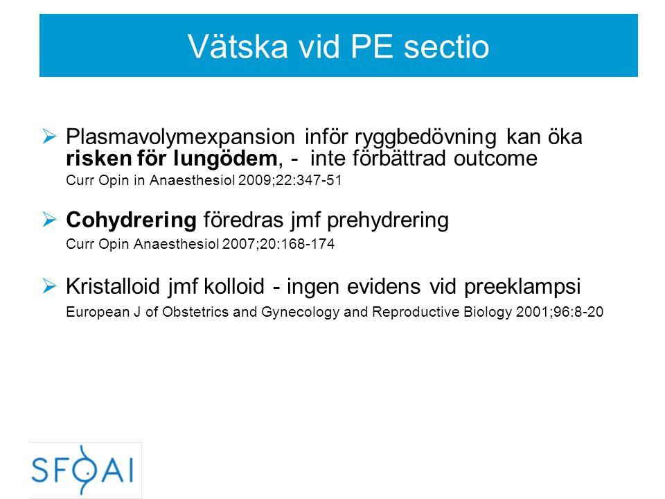 Vätska vid PE sectio  Plasmavolymexpansion inför ryggbedövning kan öka risken för lungödem, - inte förbättrad outcome Curr Opin in Anaesthesiol 2009;