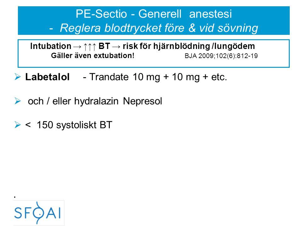 PE-Sectio - Generell anestesi - Reglera blodtrycket före & vid sövning  Labetalol - Trandate 10 mg + 10 mg + etc.  och / eller hydralazin Nepresol 