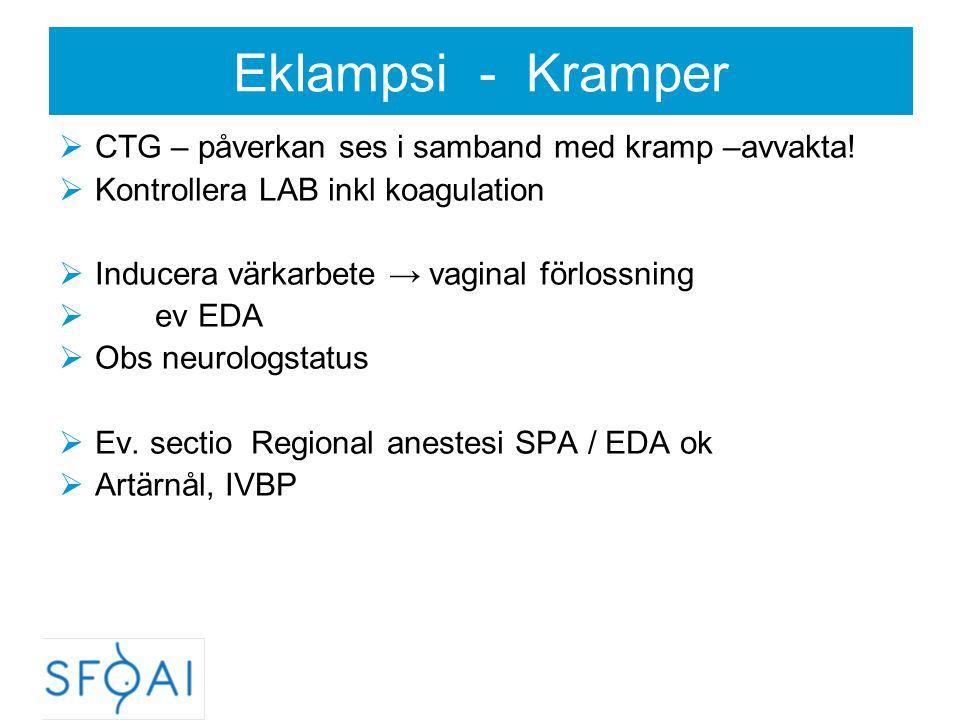 Eklampsi - Kramper  CTG – påverkan ses i samband med kramp –avvakta!  Kontrollera LAB inkl koagulation  Inducera värkarbete → vaginal förlossning 