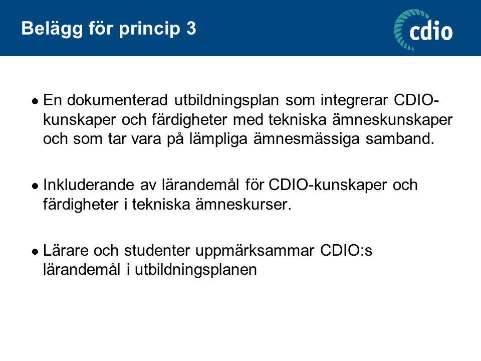 Belägg för princip 3 En dokumenterad utbildningsplan som integrerar CDIO- kunskaper och färdigheter med tekniska ämneskunskaper och som tar vara på lä