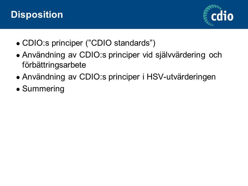 """Disposition CDIO:s principer (""""CDIO standards"""") Användning av CDIO:s principer vid självvärdering och förbättringsarbete Användning av CDIO:s principe"""