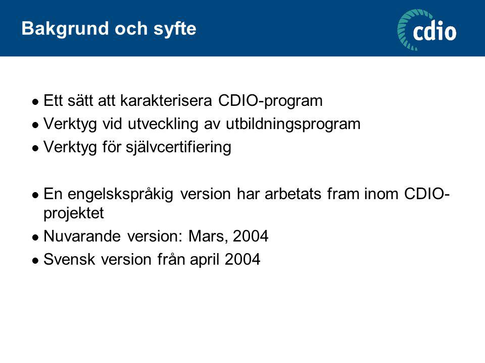 Exempel på belägg och värdering ( evidence ) CDIO STANDARDEVIDENCE OF COMPLIANCERATINGACTIONS 3A curriculum designed with mutually supporting disciplinary subjects, with an explicit plan to integrate personal, interpersonal and product and system building skills* A curriculum that weaves personal, interpersonal, and product and system skills into disciplinary courses was designed in 2002 for full implementation in Fall 2003.