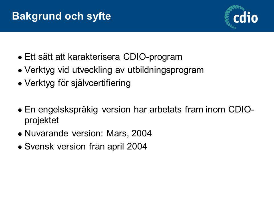 Bakgrund och syfte Ett sätt att karakterisera CDIO-program Verktyg vid utveckling av utbildningsprogram Verktyg för självcertifiering En engelskspråki