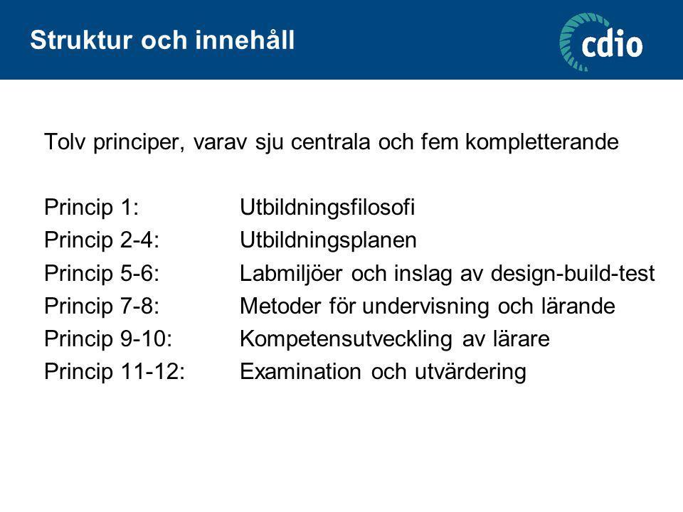 Struktur och innehåll (forts) Varje princip består av fyra komponenter: Princip (standard) Beskrivning (description) Motivering (rationale) Belägg (evidence)