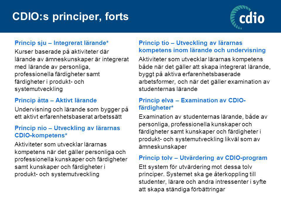 CDIO:s principer, forts Princip sju – Integrerat lärande* Kurser baserade på aktiviteter där lärande av ämneskunskaper är integrerat med lärande av pe