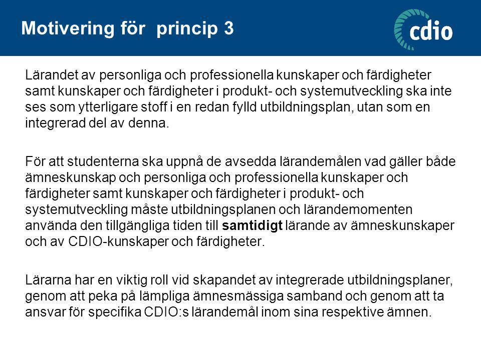 Skillnad mot en ren CDIO-självvärdering Akronymen CDIO har rensats ut från beskrivningarna, mer neutrala termer har eftersträvats Sammanhanget i princip 1 – produkt- och systemutveckling – kan bytas mot ett annat definierat sammanhang Princip 2 är kompletterad genom att även nämna ämneskunskaper Ingen summering av total uppfyllelse Jämkning av terminologi mellan principer och CDIO syllabus