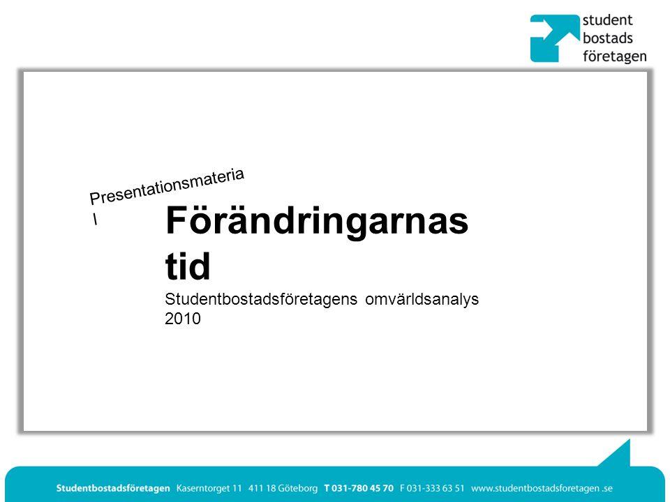 Presentationsmateria l Förändringarnas tid Studentbostadsföretagens omvärldsanalys 2010