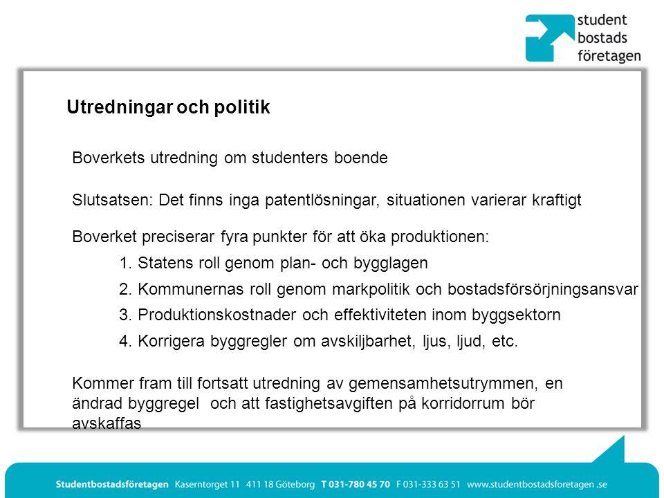 Utredningar och politik Boverkets utredning om studenters boende Slutsatsen: Det finns inga patentlösningar, situationen varierar kraftigt Boverket preciserar fyra punkter för att öka produktionen: 1.