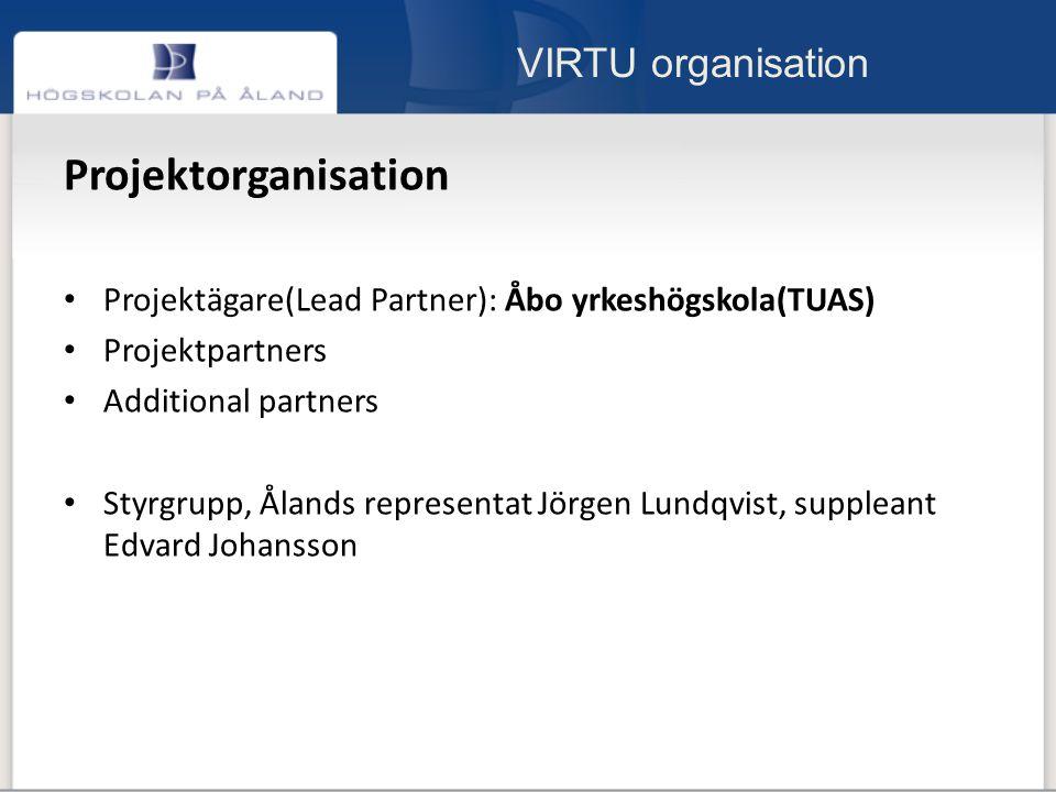 VIRTU organisation Projektorganisation Projektägare(Lead Partner): Åbo yrkeshögskola(TUAS) Projektpartners Additional partners Styrgrupp, Ålands representat Jörgen Lundqvist, suppleant Edvard Johansson