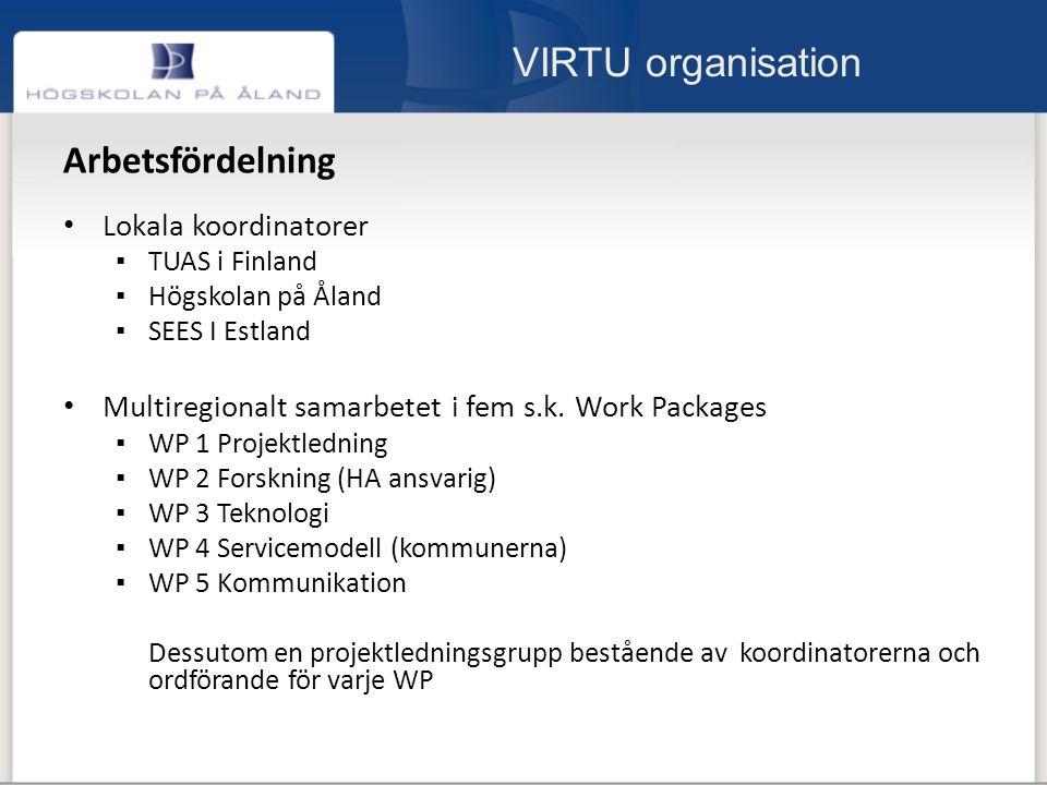 VIRTU organisation Arbetsfördelning Lokala koordinatorer ▪ TUAS i Finland ▪ Högskolan på Åland ▪ SEES I Estland Multiregionalt samarbetet i fem s.k.