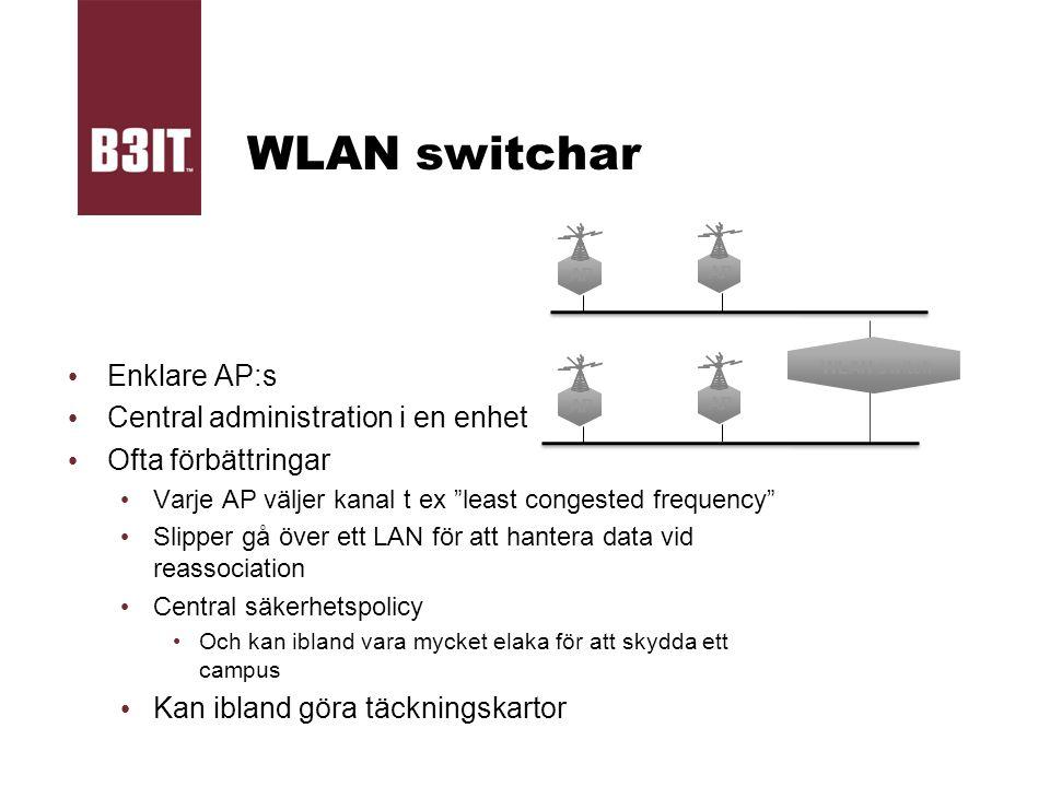 """WLAN switchar Enklare AP:s Central administration i en enhet Ofta förbättringar Varje AP väljer kanal t ex """"least congested frequency"""" Slipper gå över"""