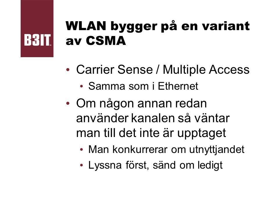 WLAN bygger på en variant av CSMA Carrier Sense / Multiple Access Samma som i Ethernet Om någon annan redan använder kanalen så väntar man till det in