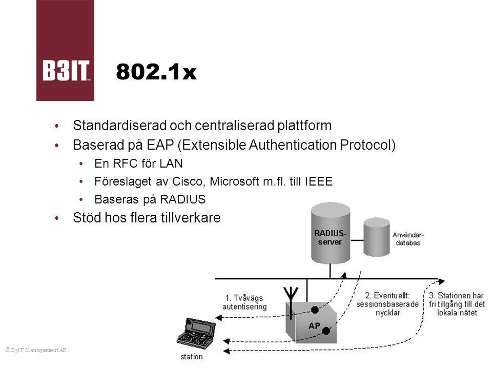 © B3IT Management AB 802.1x Standardiserad och centraliserad plattform Baserad på EAP (Extensible Authentication Protocol) En RFC för LAN Föreslaget a