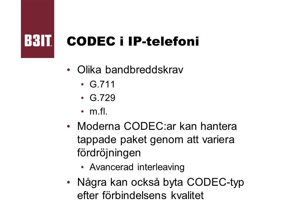 CODEC i IP-telefoni Olika bandbreddskrav G.711 G.729 m.fl. Moderna CODEC:ar kan hantera tappade paket genom att variera fördröjningen Avancerad interl