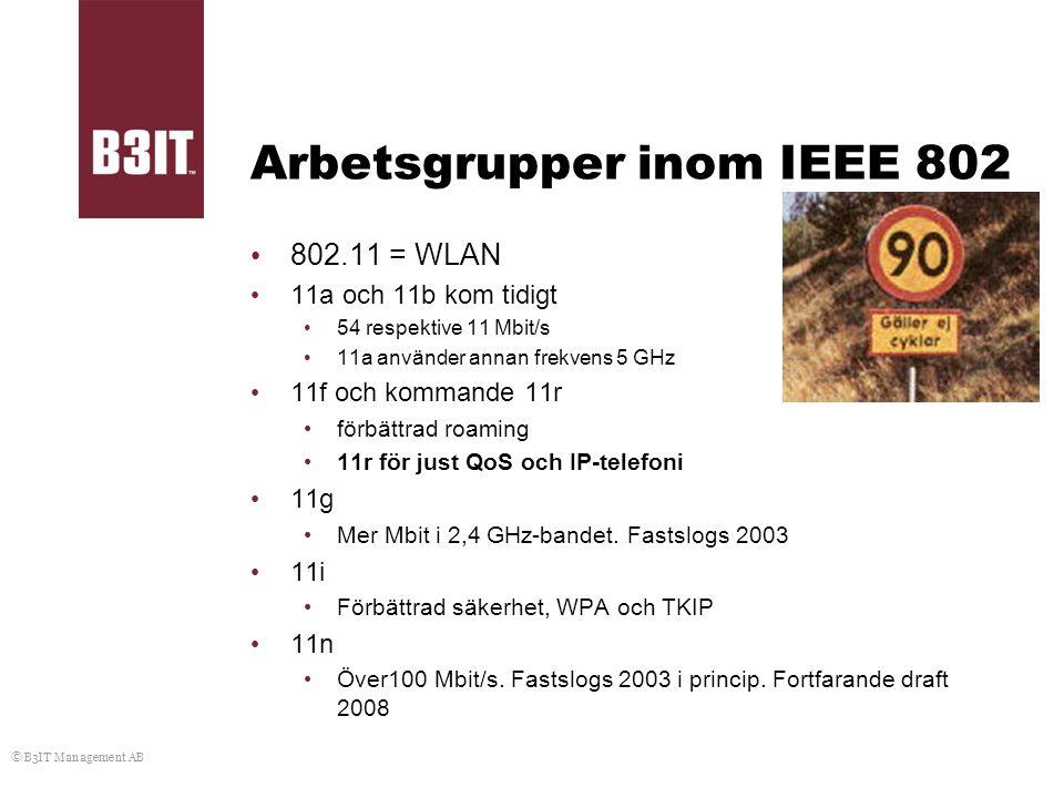 © B3IT Management AB Arbetsgrupper inom IEEE 802 802.11 = WLAN 11a och 11b kom tidigt 54 respektive 11 Mbit/s 11a använder annan frekvens 5 GHz 11f oc