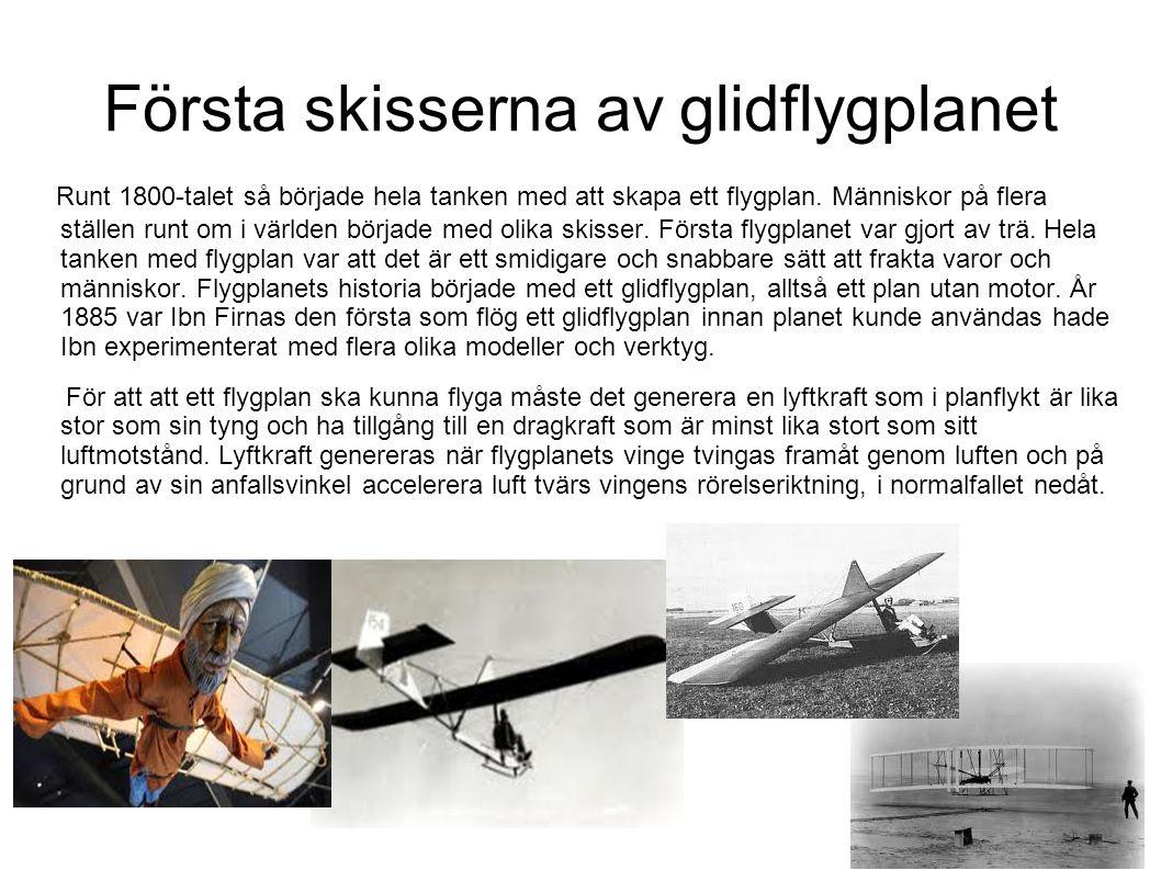 Glidflygplan Första gången man skulle flyga ett glidflygplan putta man det över branta stup och höll tummarna för att planet skulle lyfta upp.