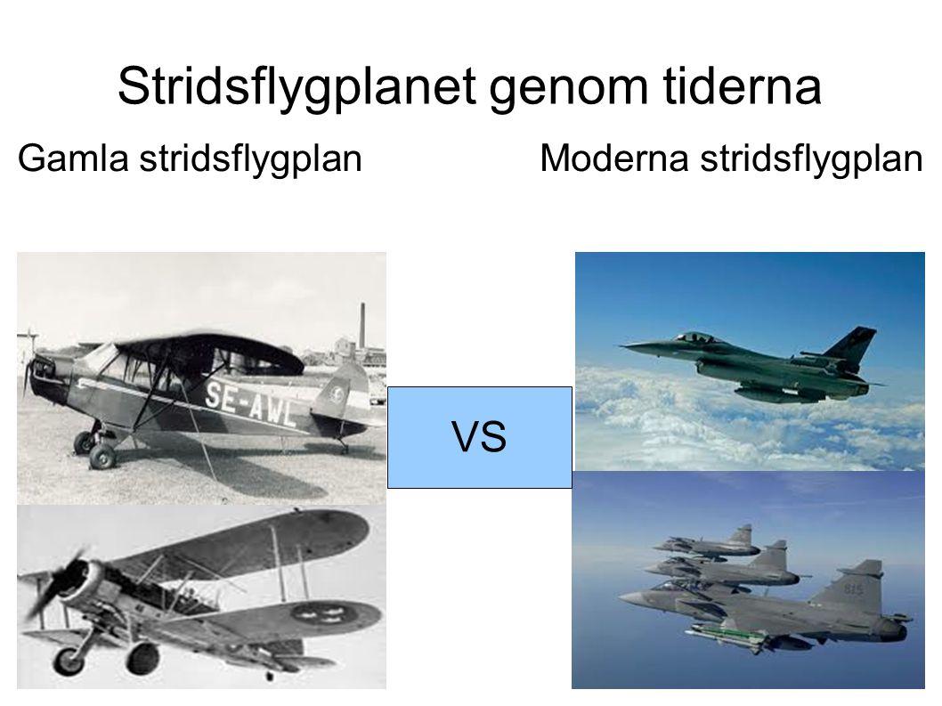 Stridsflygplanet genom tiderna Gamla stridsflygplan Moderna stridsflygplan VS