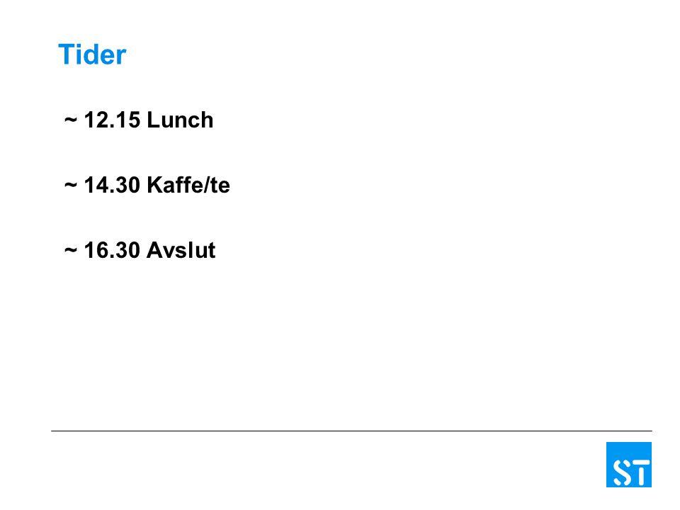 Tider ~ 12.15 Lunch ~ 14.30 Kaffe/te ~ 16.30 Avslut