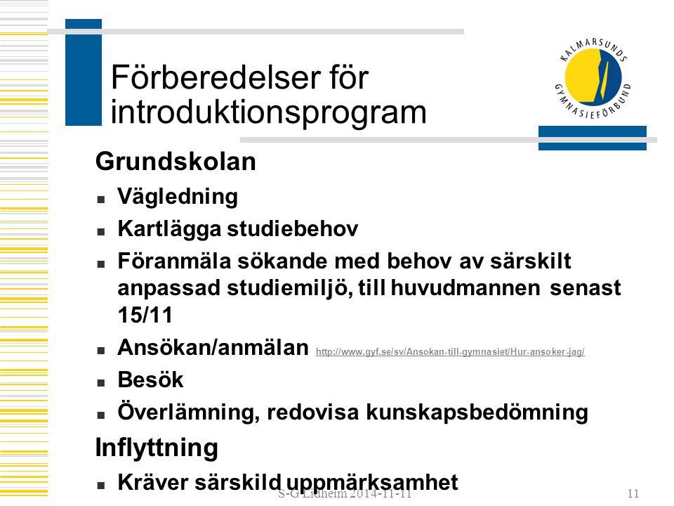 S-G Lidheim 2014-11-11 Förberedelser för introduktionsprogram Grundskolan Vägledning Kartlägga studiebehov Föranmäla sökande med behov av särskilt anpassad studiemiljö, till huvudmannen senast 15/11 Ansökan/anmälan http://www.gyf.se/sv/Ansokan-till-gymnasiet/Hur-ansoker-jag/ http://www.gyf.se/sv/Ansokan-till-gymnasiet/Hur-ansoker-jag/ Besök Överlämning, redovisa kunskapsbedömning Inflyttning Kräver särskild uppmärksamhet 11
