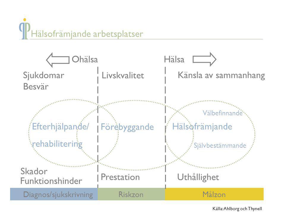 Sjukdomar Besvär Livskvalitet Känsla av sammanhang Skador Funktionshinder Prestation Uthållighet Efterhjälpande/ rehabilitering Förebyggande Hälsofräm