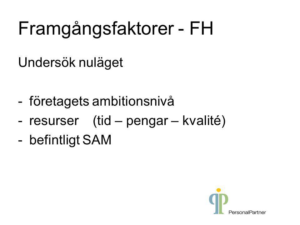 Framgångsfaktorer - FH Undersök nuläget -företagets ambitionsnivå -resurser (tid – pengar – kvalité) -befintligt SAM