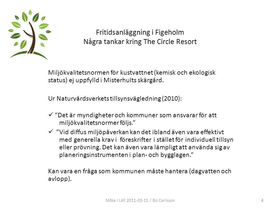 Fritidsanläggning i Figeholm Några tankar kring The Circle Resort Miljökvalitetsnormen för kustvattnet (kemisk och ekologisk status) ej uppfylld i Mis