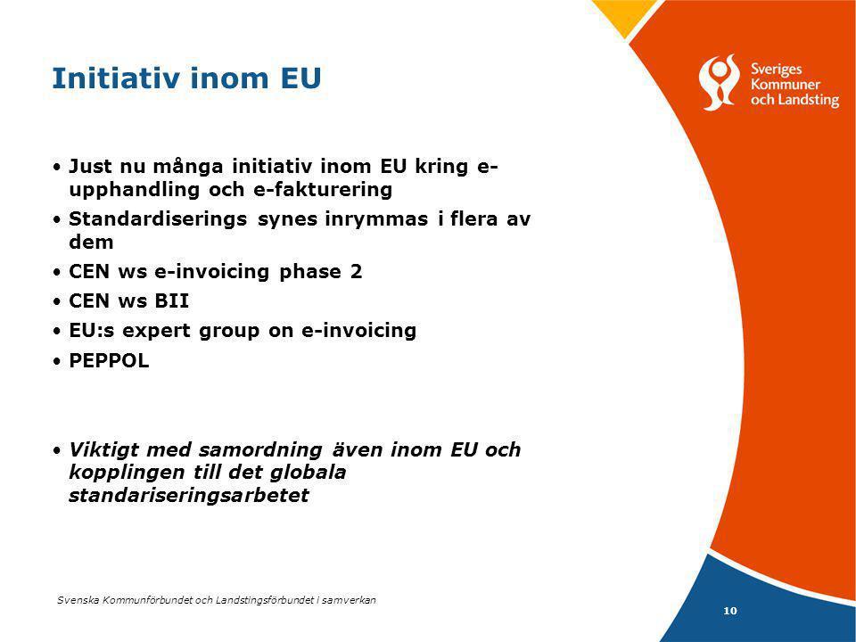 Svenska Kommunförbundet och Landstingsförbundet i samverkan 10 Initiativ inom EU Just nu många initiativ inom EU kring e- upphandling och e-fakturering Standardiserings synes inrymmas i flera av dem CEN ws e-invoicing phase 2 CEN ws BII EU:s expert group on e-invoicing PEPPOL Viktigt med samordning även inom EU och kopplingen till det globala standariseringsarbetet