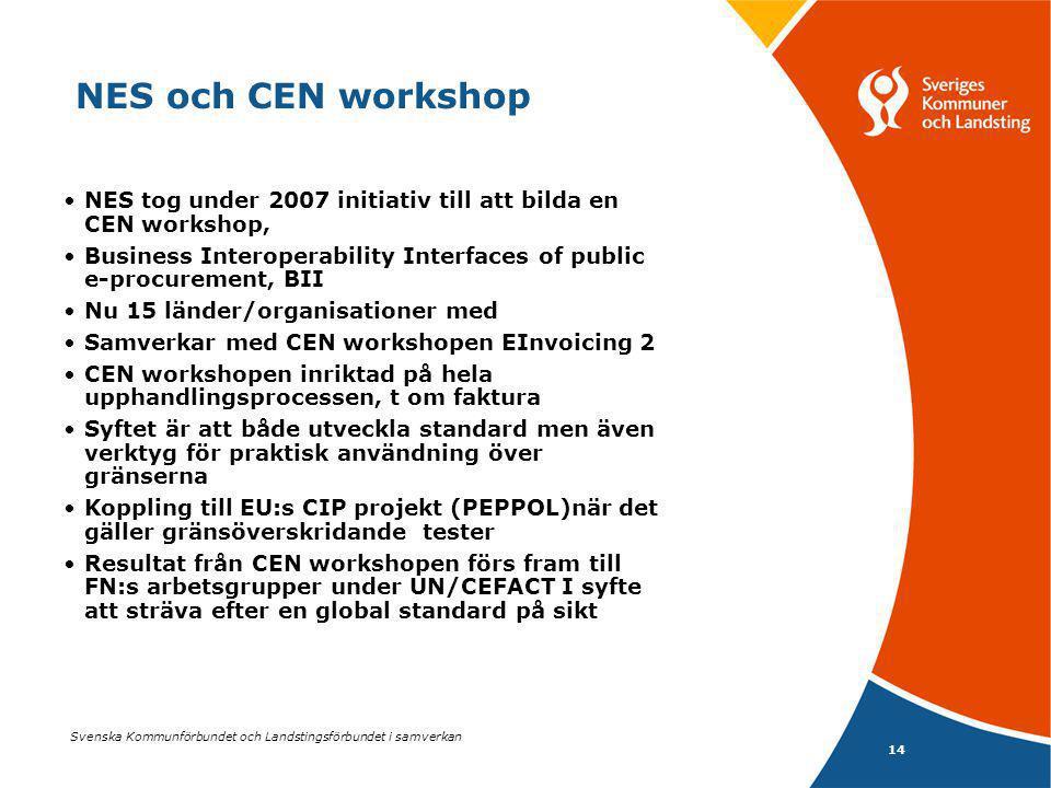 Svenska Kommunförbundet och Landstingsförbundet i samverkan 14 NES och CEN workshop NES tog under 2007 initiativ till att bilda en CEN workshop, Business Interoperability Interfaces of public e-procurement, BII Nu 15 länder/organisationer med Samverkar med CEN workshopen EInvoicing 2 CEN workshopen inriktad på hela upphandlingsprocessen, t om faktura Syftet är att både utveckla standard men även verktyg för praktisk användning över gränserna Koppling till EU:s CIP projekt (PEPPOL)när det gäller gränsöverskridande tester Resultat från CEN workshopen förs fram till FN:s arbetsgrupper under UN/CEFACT I syfte att sträva efter en global standard på sikt