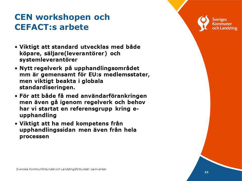 Svenska Kommunförbundet och Landstingsförbundet i samverkan 15 CEN workshopen och CEFACT:s arbete Viktigt att standard utvecklas med både köpare, säljare(leverantörer) och systemleverantörer Nytt regelverk på upphandlingsområdet mm är gemensamt för EU:s medlemsstater, men viktigt beakta i globala standardiseringen.