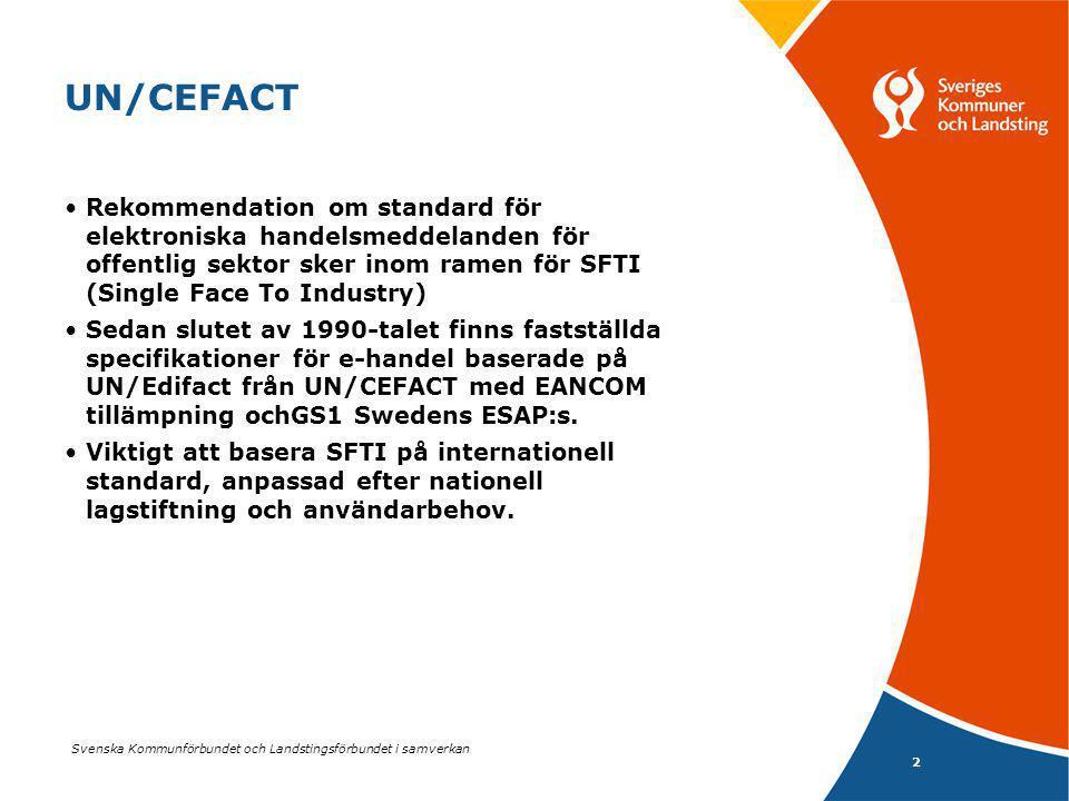 Svenska Kommunförbundet och Landstingsförbundet i samverkan 3 UN/CEFACT SFTI omfattar sedan länge integrerad e- handel, EDI baserad på UN/Edifact och EANCOM/ESAP Affärsprocesserna som stöds är -Avrop mot ramavtal, Sc 6 i olika varianter samt -Periodisk fakturering,Sc 9 Vidare finns SFTI fulltextfaktura som en fullständig faktura, med information som kommer från de olika meddelandena i Sc 6 och 9
