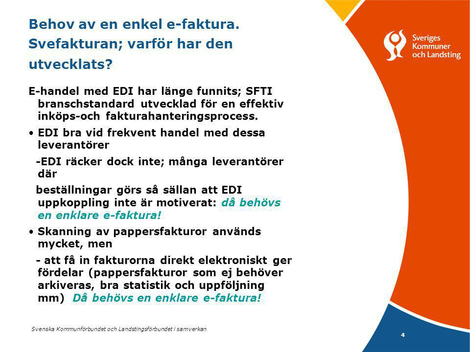 Svenska Kommunförbundet och Landstingsförbundet i samverkan 5 Behovet av Svefakturan Snabbare uppstart behövdes.