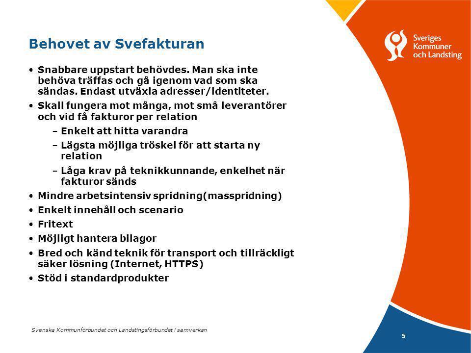 Svenska Kommunförbundet och Landstingsförbundet i samverkan 6 Enklare affärsprocess behövde XML- format Svefakturan togs fram utifrån arbete med -Dels innehållet i fakturan -Dels mappning till tekniskt format -Vidare togs fram en transportprofil 2004 behövde innehållet mappas till tekniskt format Inom UN/CEFACT fanns ingen XML standard Valet föll därför på OASIS` UBL-standard Samma val gjorde danska staten, därefter Island m fl.