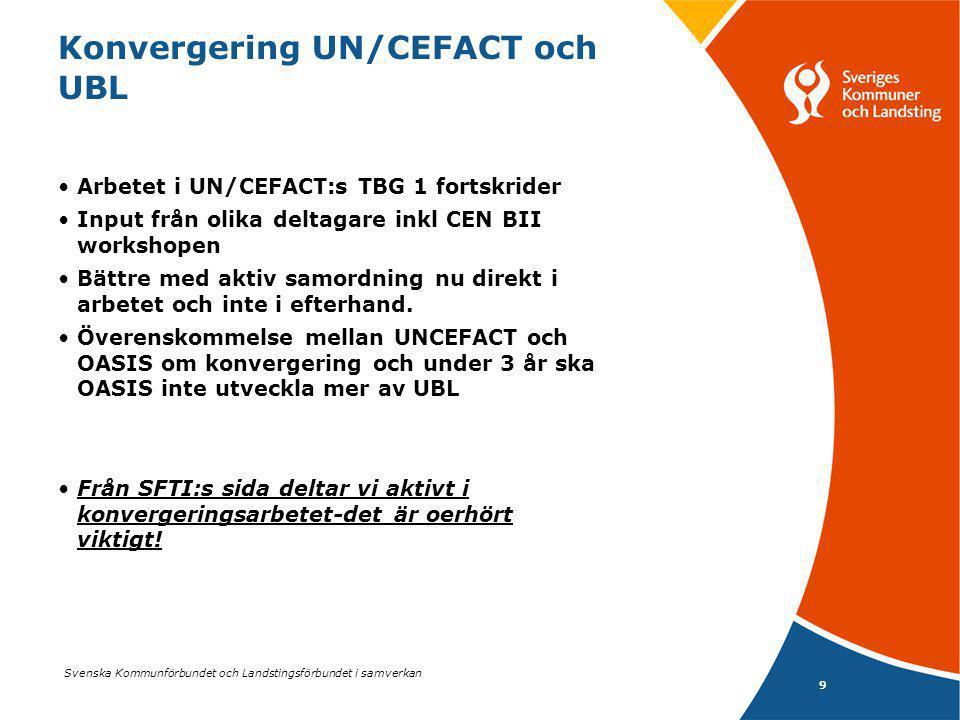 Svenska Kommunförbundet och Landstingsförbundet i samverkan 9 Konvergering UN/CEFACT och UBL Arbetet i UN/CEFACT:s TBG 1 fortskrider Input från olika deltagare inkl CEN BII workshopen Bättre med aktiv samordning nu direkt i arbetet och inte i efterhand.