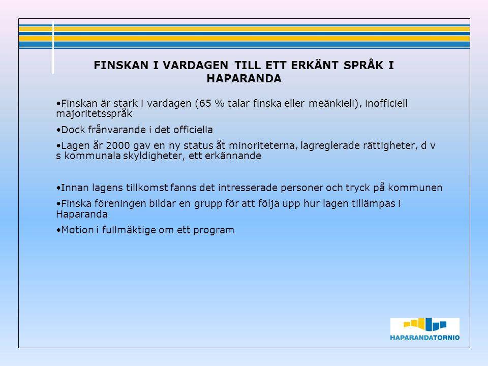 Finskan är stark i vardagen (65 % talar finska eller meänkieli), inofficiell majoritetsspråk Dock frånvarande i det officiella Lagen år 2000 gav en ny status åt minoriteterna, lagreglerade rättigheter, d v s kommunala skyldigheter, ett erkännande Innan lagens tillkomst fanns det intresserade personer och tryck på kommunen Finska föreningen bildar en grupp för att följa upp hur lagen tillämpas i Haparanda Motion i fullmäktige om ett program FINSKAN I VARDAGEN TILL ETT ERKÄNT SPRÅK I HAPARANDA