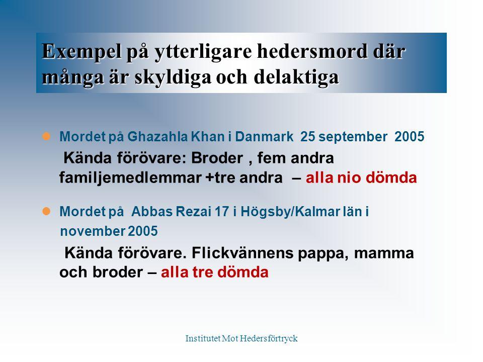Exempel på ytterligare hedersmord där många är skyldiga och delaktiga Mordet på Ghazahla Khan i Danmark 25 september 2005 Kända förövare: Broder, fem andra familjemedlemmar +tre andra – alla nio dömda Mordet på Abbas Rezai 17 i Högsby/Kalmar län i november 2005 Kända förövare.