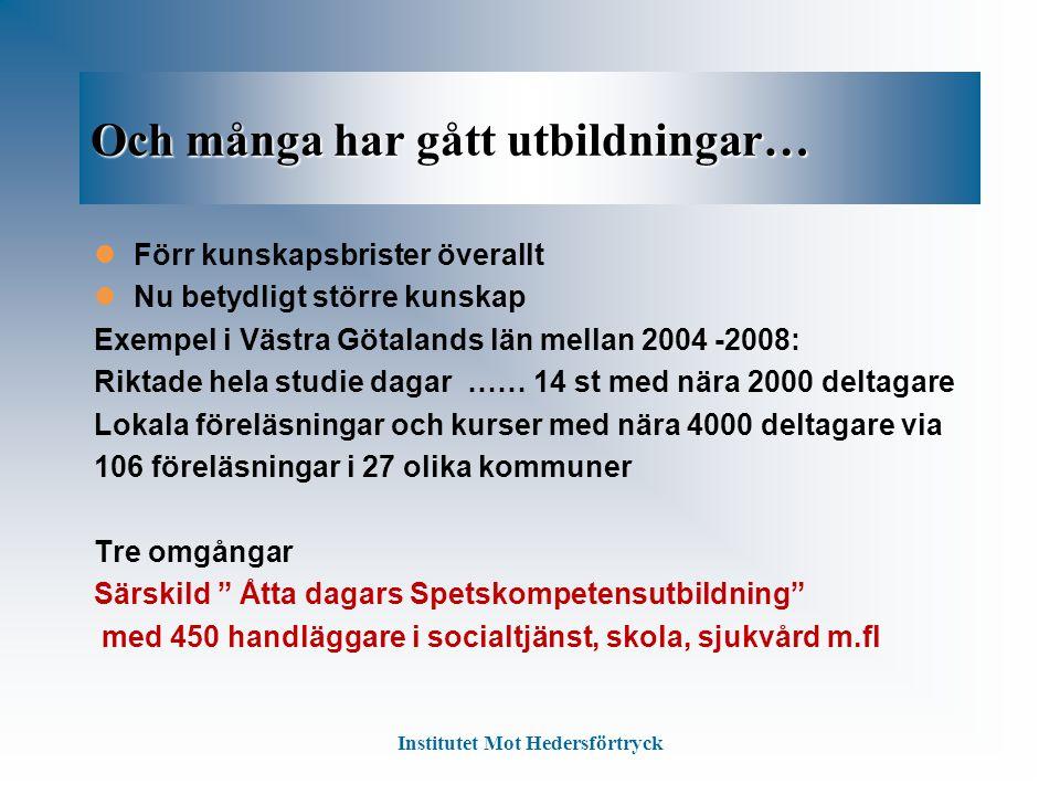 Och många har gått utbildningar… Förr kunskapsbrister överallt Nu betydligt större kunskap Exempel i Västra Götalands län mellan 2004 -2008: Riktade h