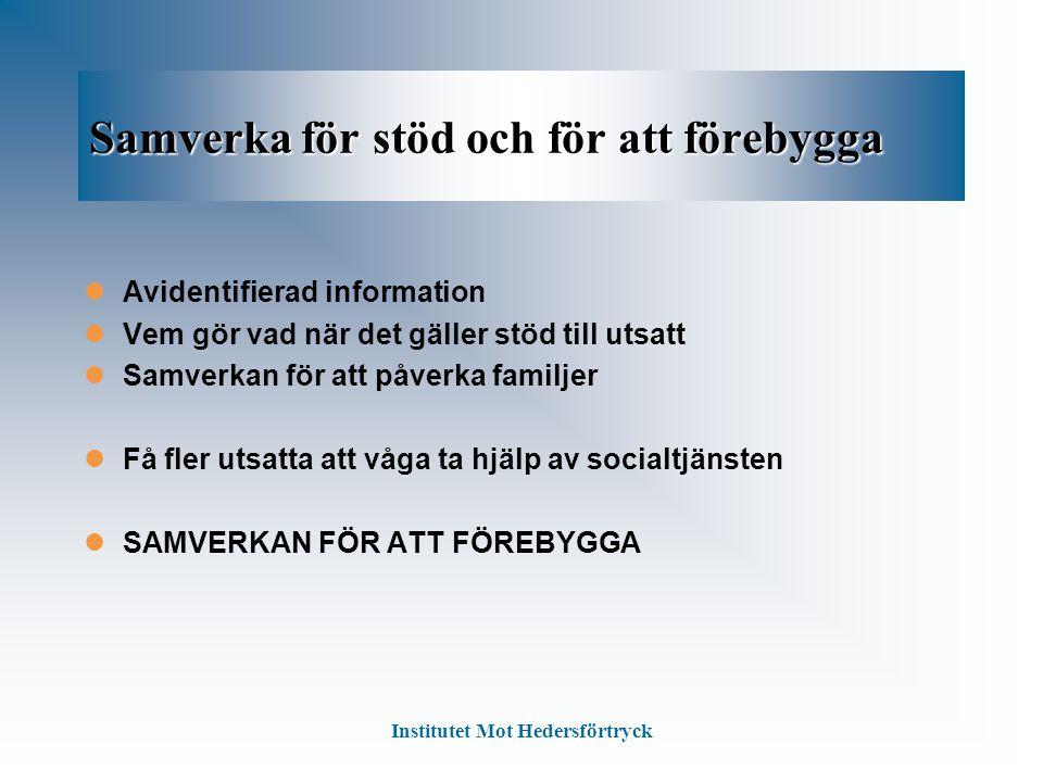 Samverka för stöd och för att förebygga Avidentifierad information Vem gör vad när det gäller stöd till utsatt Samverkan för att påverka familjer Få f