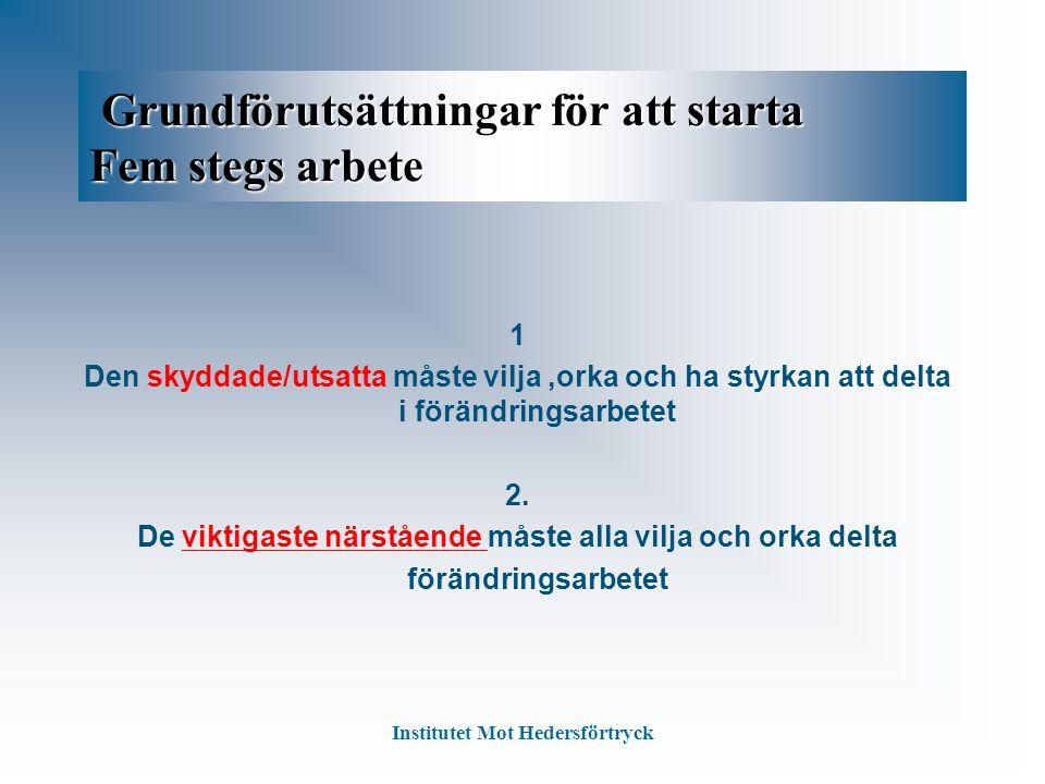 Grundförutsättningar för att starta Fem stegs arbete Grundförutsättningar för att starta Fem stegs arbete 1 Den skyddade/utsatta måste vilja,orka och ha styrkan att delta i förändringsarbetet 2.