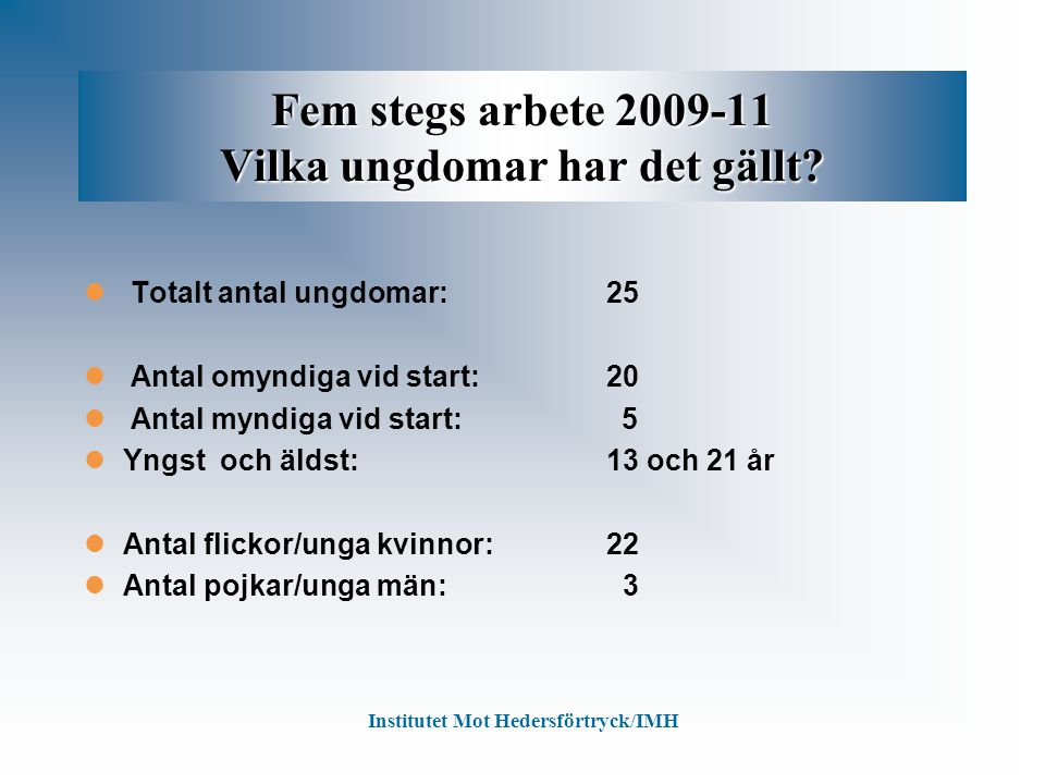 Fem stegs arbete 2009-11 Vilka ungdomar har det gällt? Totalt antal ungdomar:25 Antal omyndiga vid start:20 Antal myndiga vid start: 5 Yngst och äldst