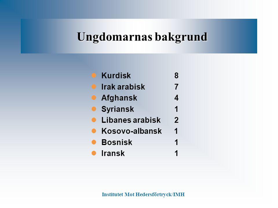 Ungdomarnas bakgrund Ungdomarnas bakgrund Kurdisk 8 Irak arabisk 7 Afghansk 4 Syriansk 1 Libanes arabisk 2 Kosovo-albansk 1 Bosnisk 1 Iransk 1 Institu