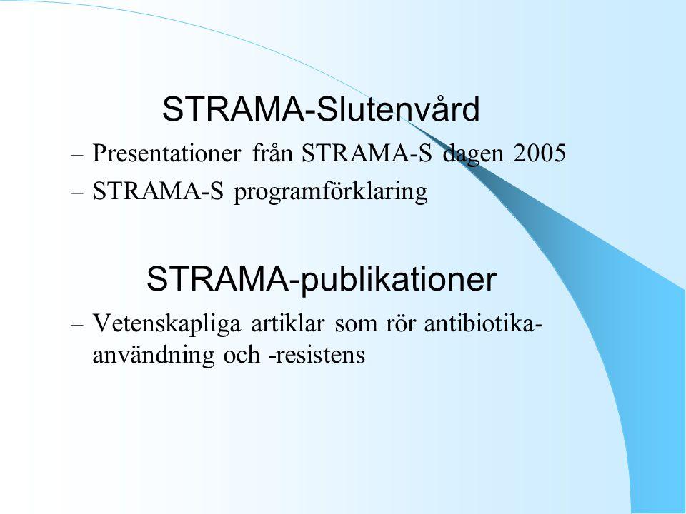 STRAMA-Slutenvård – Presentationer från STRAMA-S dagen 2005 – STRAMA-S programförklaring STRAMA-publikationer – Vetenskapliga artiklar som rör antibiotika- användning och -resistens