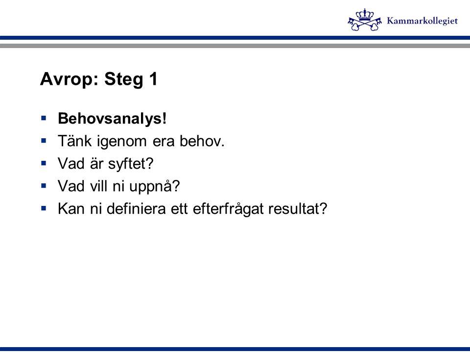 Avrop: Steg 1  Behovsanalys!  Tänk igenom era behov.  Vad är syftet?  Vad vill ni uppnå?  Kan ni definiera ett efterfrågat resultat?