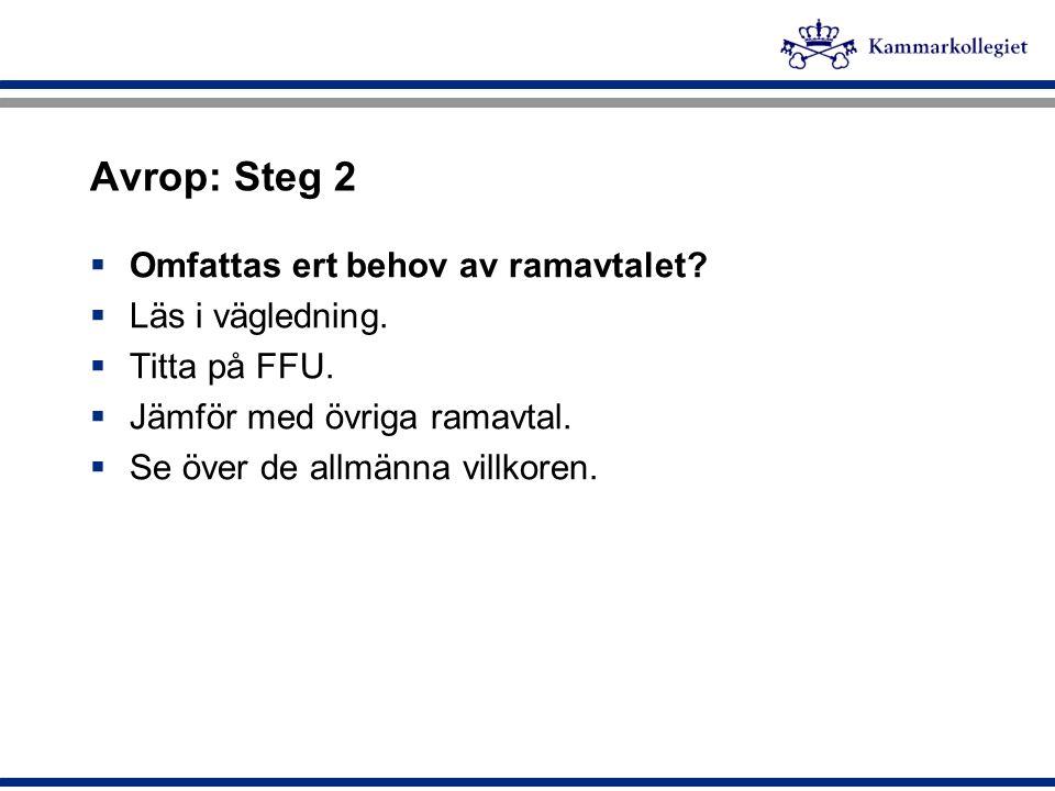 Avrop: Steg 2  Omfattas ert behov av ramavtalet?  Läs i vägledning.  Titta på FFU.  Jämför med övriga ramavtal.  Se över de allmänna villkoren.
