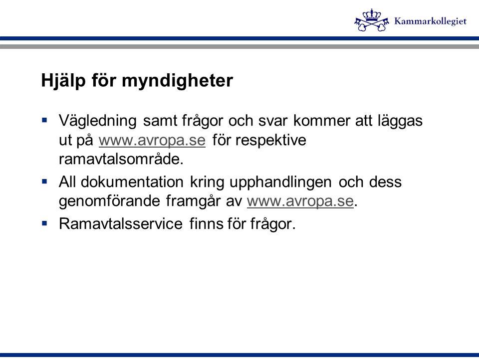 Hjälp för myndigheter  Vägledning samt frågor och svar kommer att läggas ut på www.avropa.se för respektive ramavtalsområde.www.avropa.se  All dokum